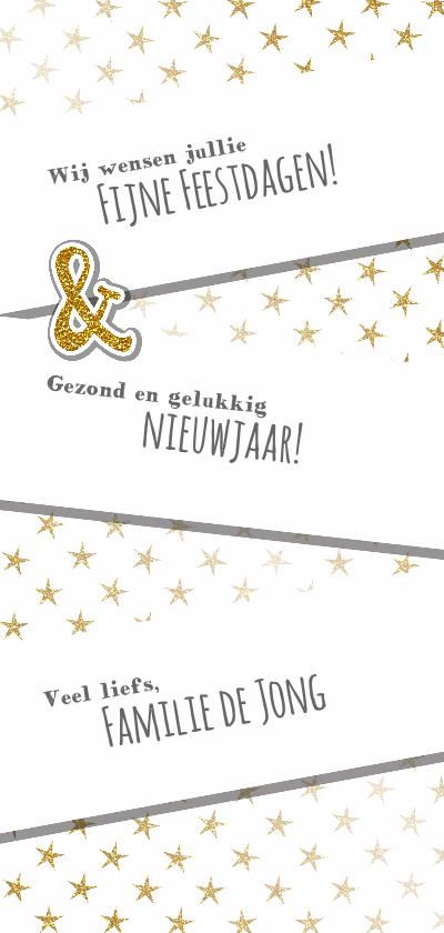 Kerstkaart trendy foto  gouden glitter tekst en sterren achterkant