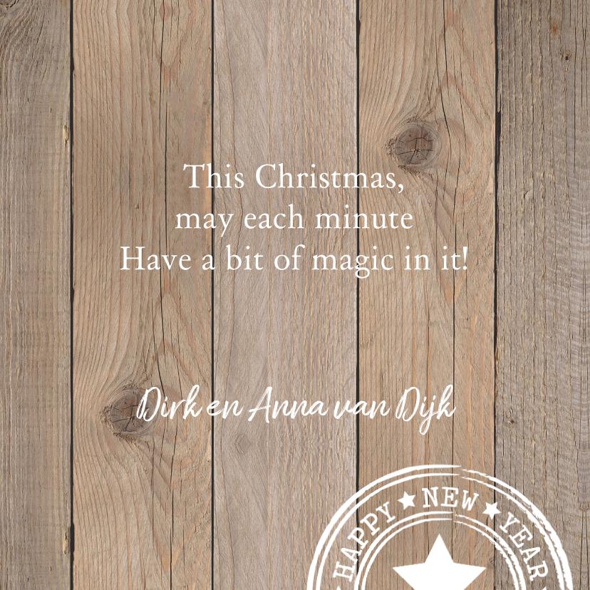 Kerstkaart typografie houtprint hartje 3