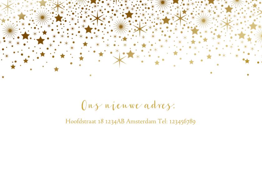 Kerstkaart verhuiskaart huisjes goudlook sterren 2