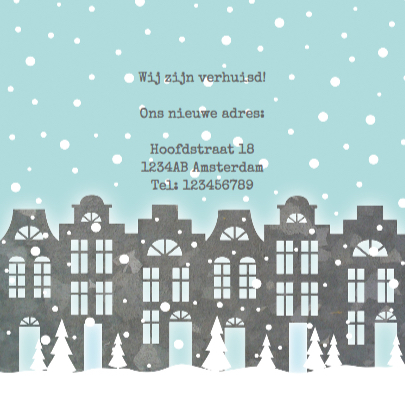 Kerstkaart verhuiskaart huisjes sneeuw foto 3