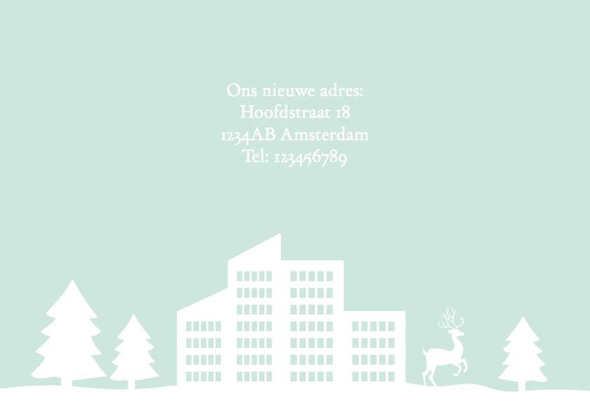Kerstkaart verhuiskaart zakelijk sneeuw gebouw 3