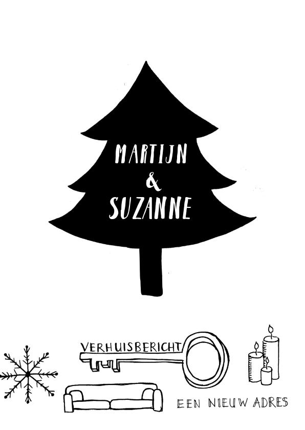 Kerstkaart verhuiskaart zwart-wit handlettering  3