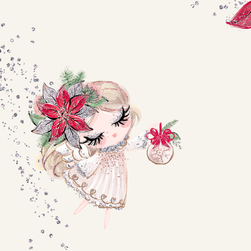 Kerstkaart vierkant engeltje met zilverglitter 2