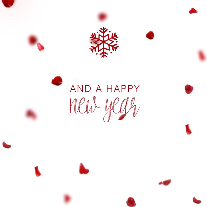 Kerstkaart vierkant met foto's en rode blaadjes 2