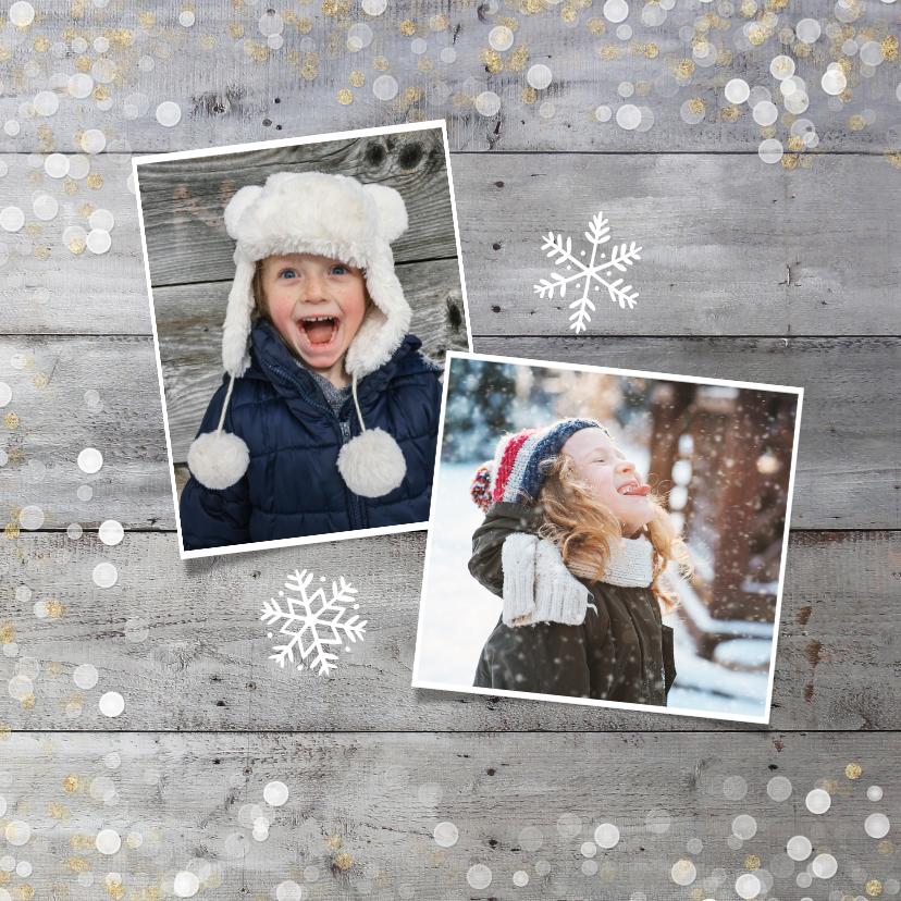 Kerstkaart vierkant met goud en witte confetti en grote foto 2