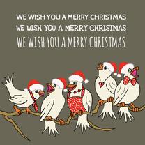 Kerstkaarten - Kerstkaart vogelkoor
