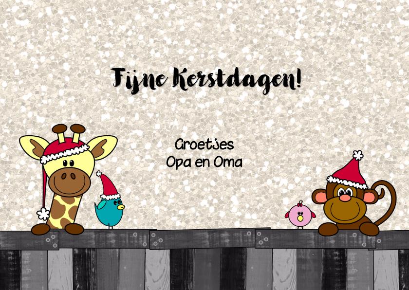 Kerstkaart vrolijk en hip met een  girafje aapje en vogels 3
