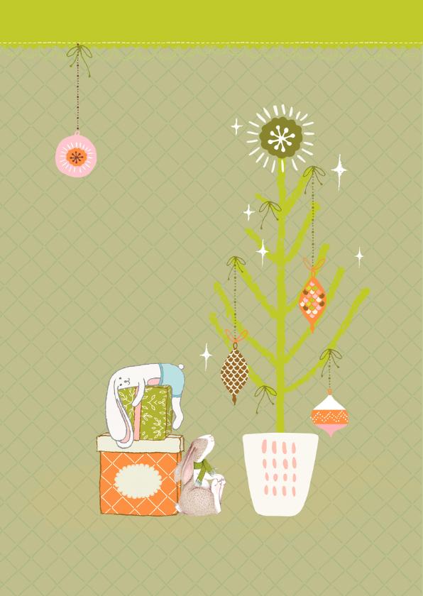 Kerstkaart vrolijk in groen-oranje illustratie 2