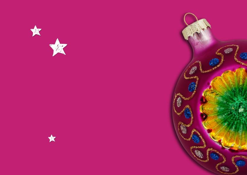Kerstkaart Vrolijke kitsch kerstballen 2