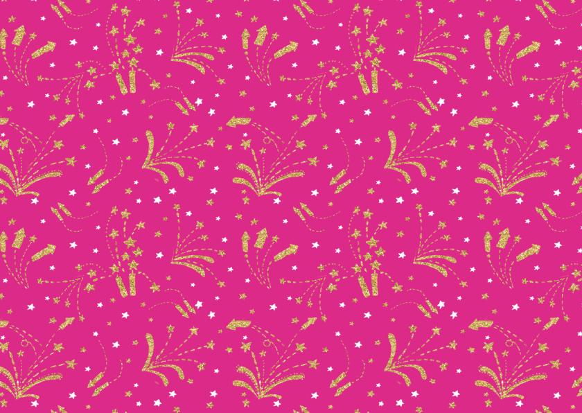 Kerstkaart vuurwerk roze 2