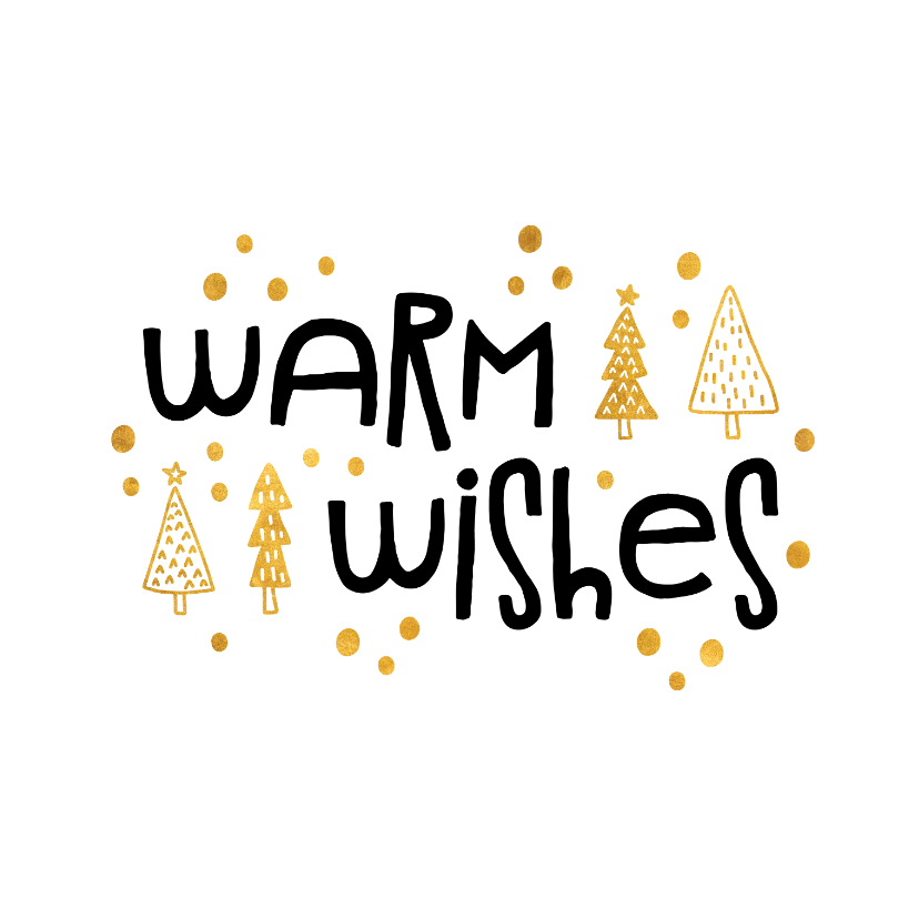 Kerstkaart 'warm wishes' goudlook 2