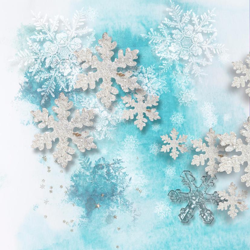 Kerstkaart winters blauw sterren - SG 2