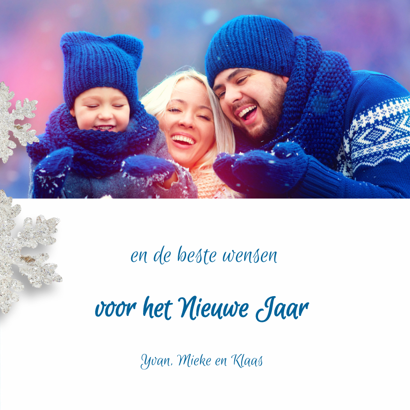 Kerstkaart winters blauw sterren - SG 3