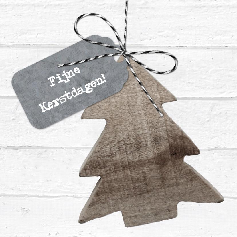 Kerstkaart Wit Hout Kerstboom Label Kaartje2go