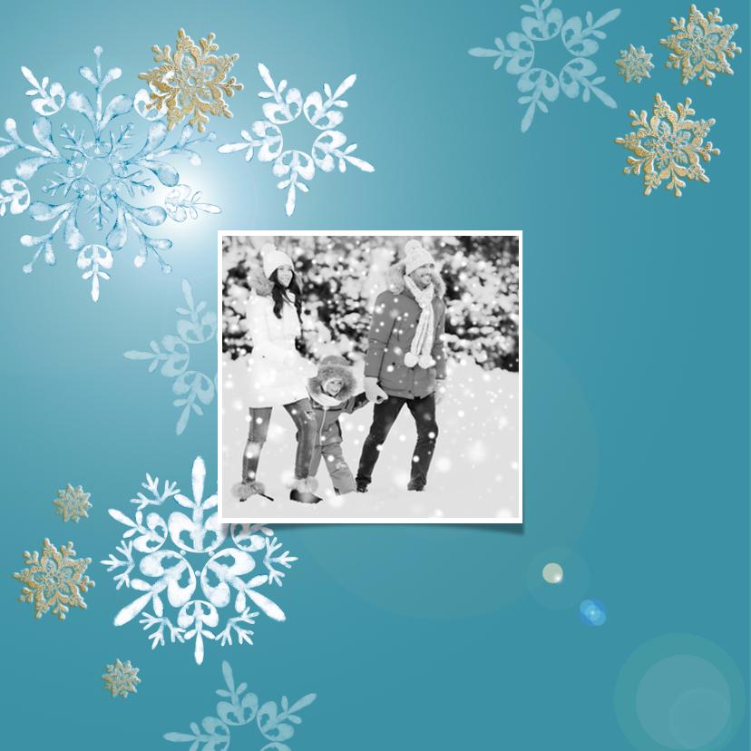 Kerstkaart witte en gouden sneeuwkristallen + foto 2
