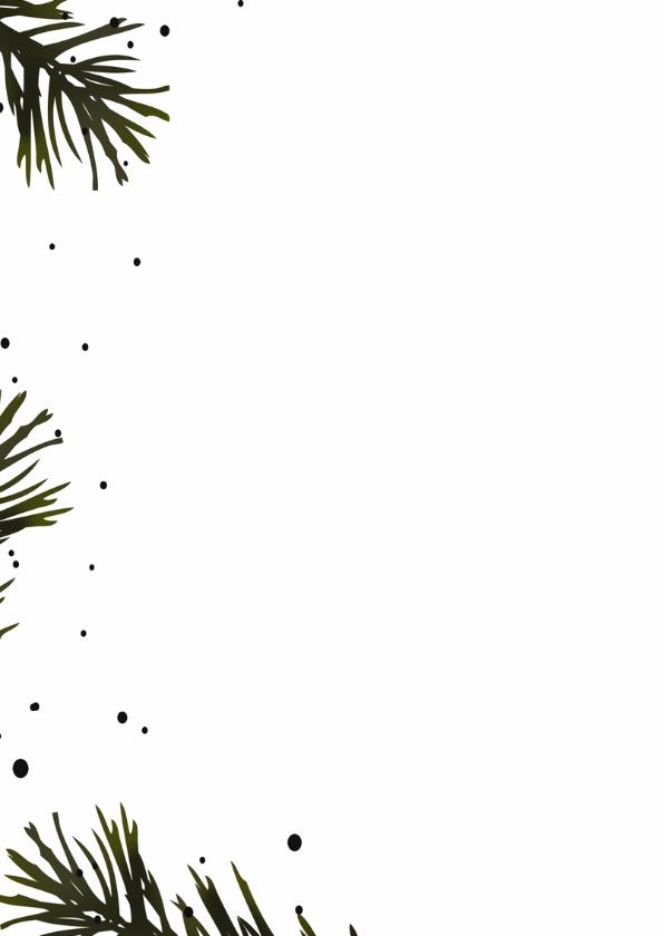 Kerstkaart zwart dennentakjes 2
