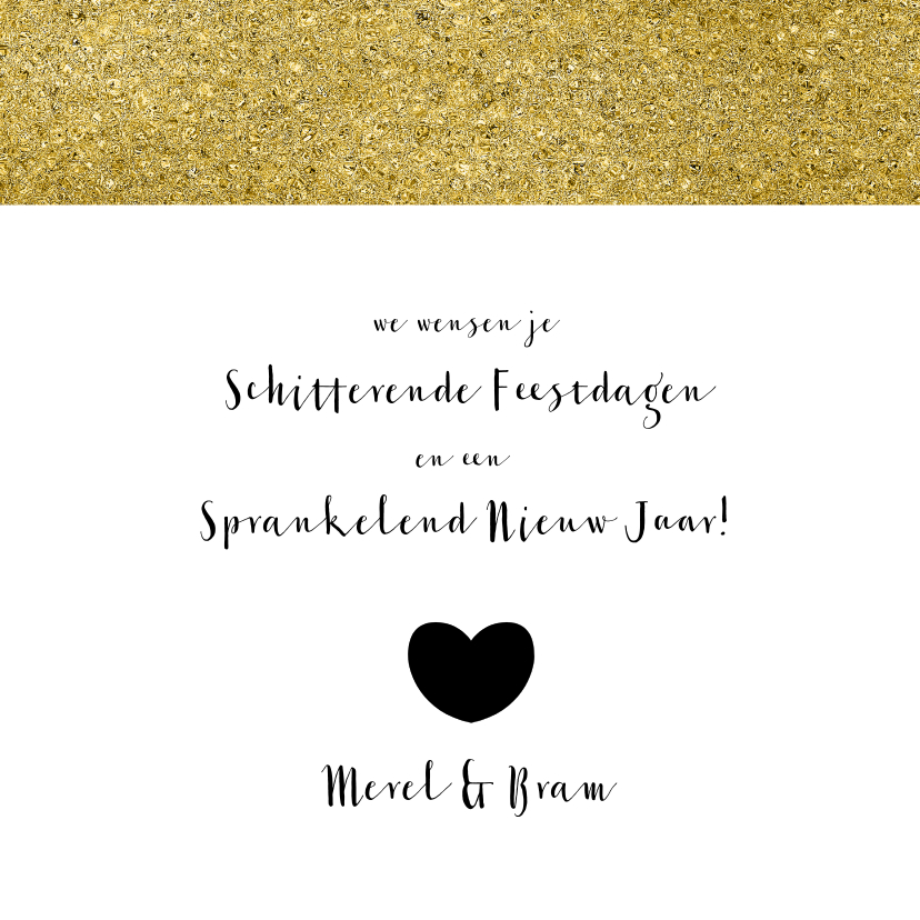 Kerstkaart zwart wit goud - OT 3