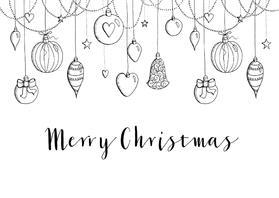 Kerstkaarten - Kerstkaart zwart-wit kerstballen