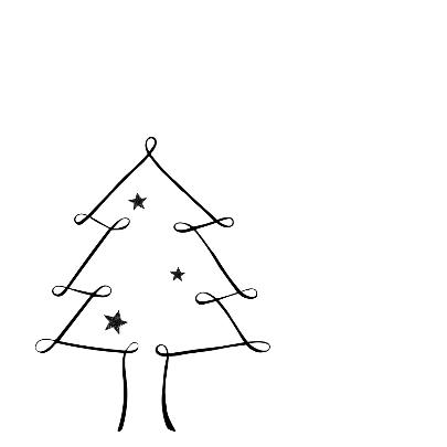 Kerstkaart zwartwitte kerstboom 2