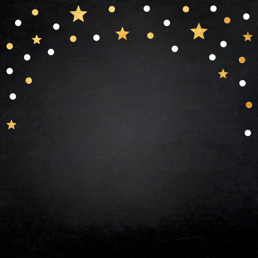 Kerstkaartdiner uitnodiging confetti goud krijtbord 2