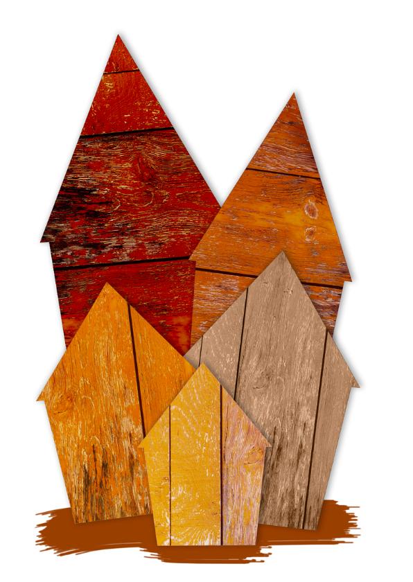 Kerstkaarten houten huisjes zwart  2