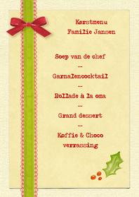 Menukaarten - Kerstmenu Brocante