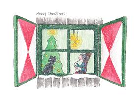 Kerstkaarten - Kerstraam oma