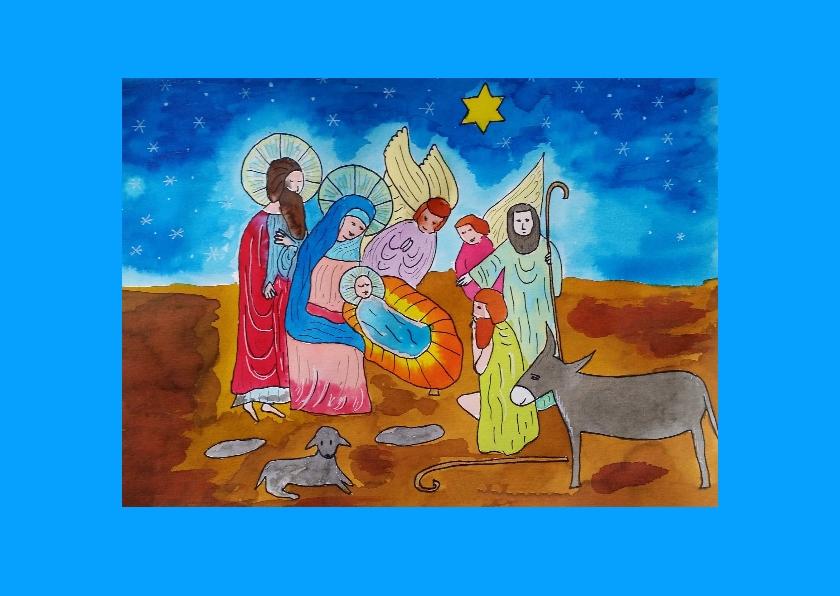 Kerststal met engel en herders 2
