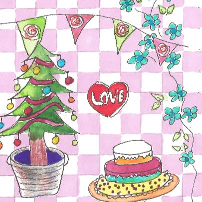 Kersttafereel met label 3