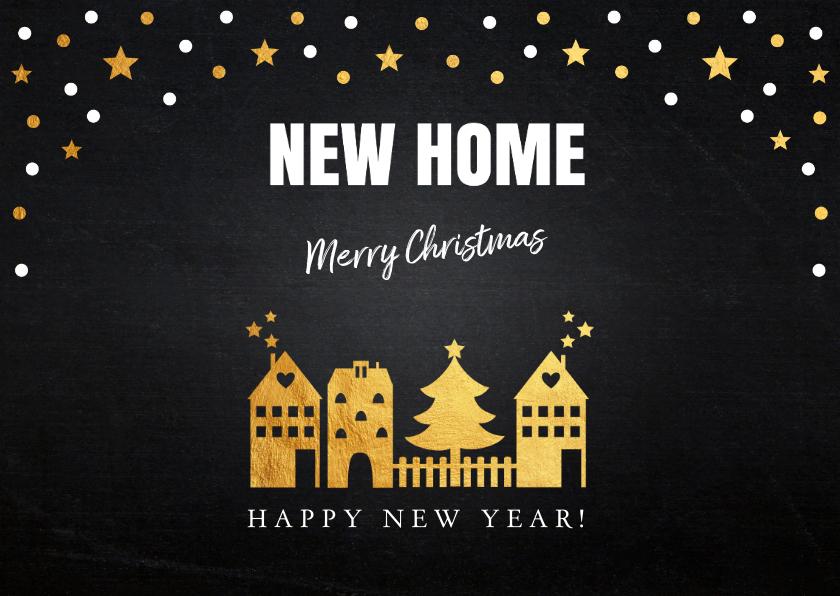 Kerstverhuiskaart foto confetti huisjes goud 2