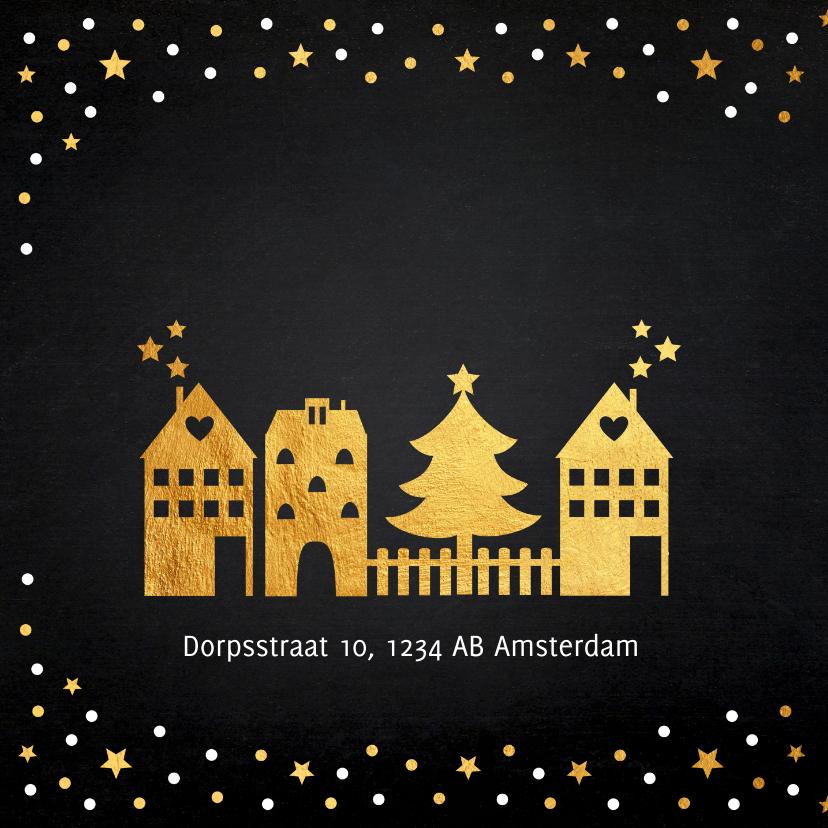 Kerstverhuiskaart gouden confetti huisjes 2