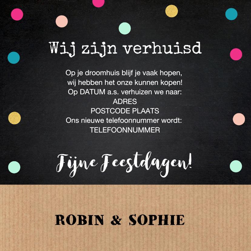 Kerstverhuiskaart label huis kraft krijtbord stippen 3