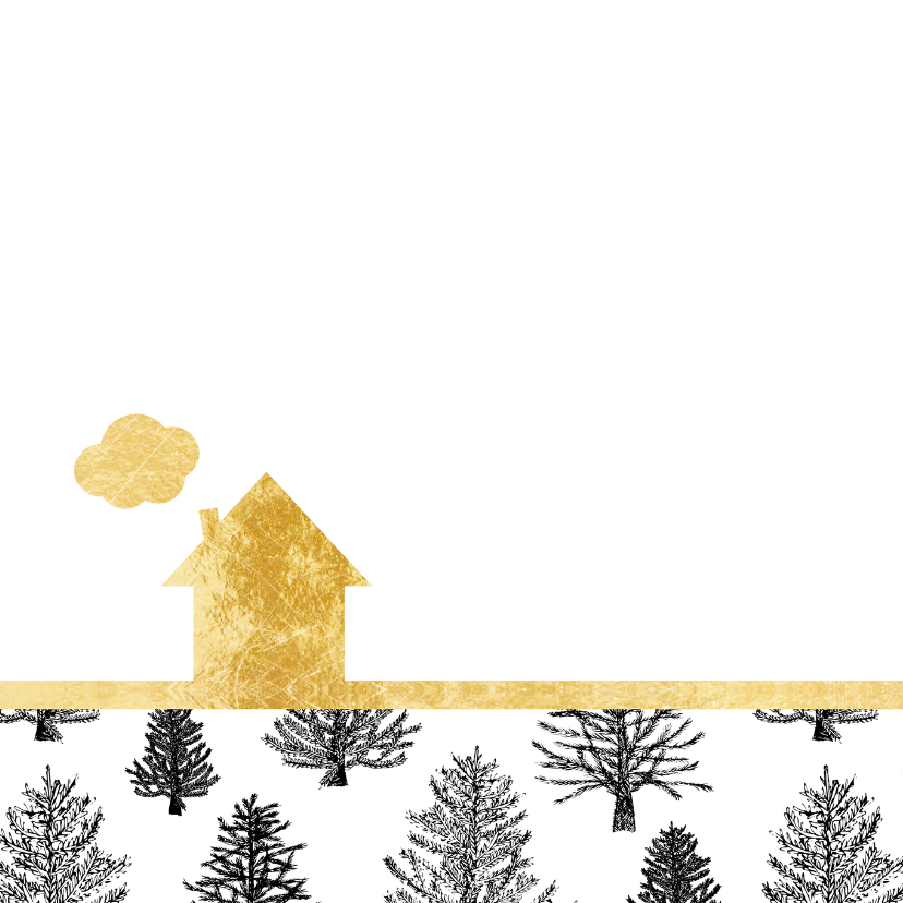 Kerstverhuiskaart zwart-wit goud 2