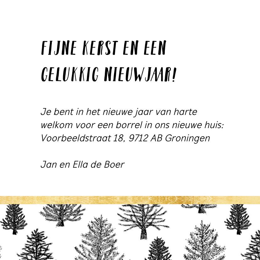 Kerstverhuiskaart zwart-wit goud 3