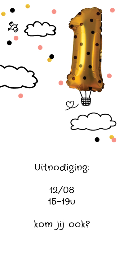 Kinderfeestje 1 jaar goud unicorn luchtballon 3
