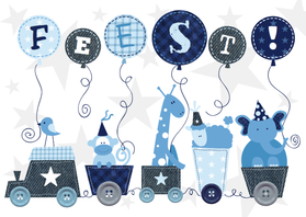 Kinderfeestjes - Kinderfeestje dieren blauw
