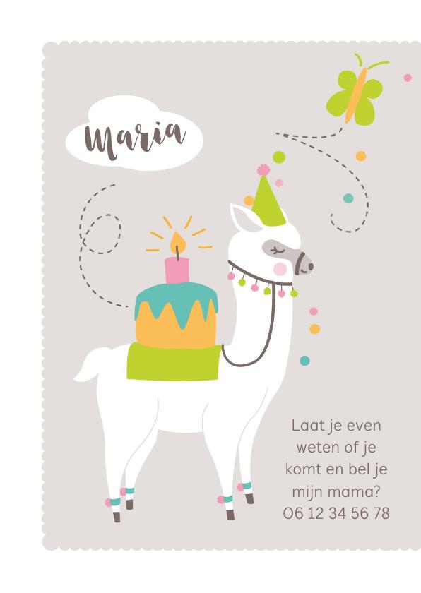 Kinderfeestje feestelijke lama met hoedje 2