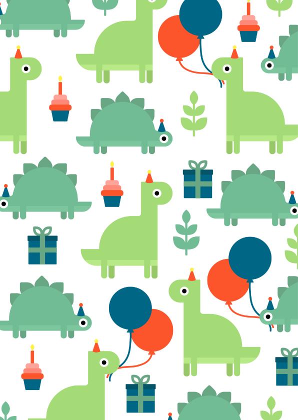 Kinderfeestje kaart met feestende dino's 2