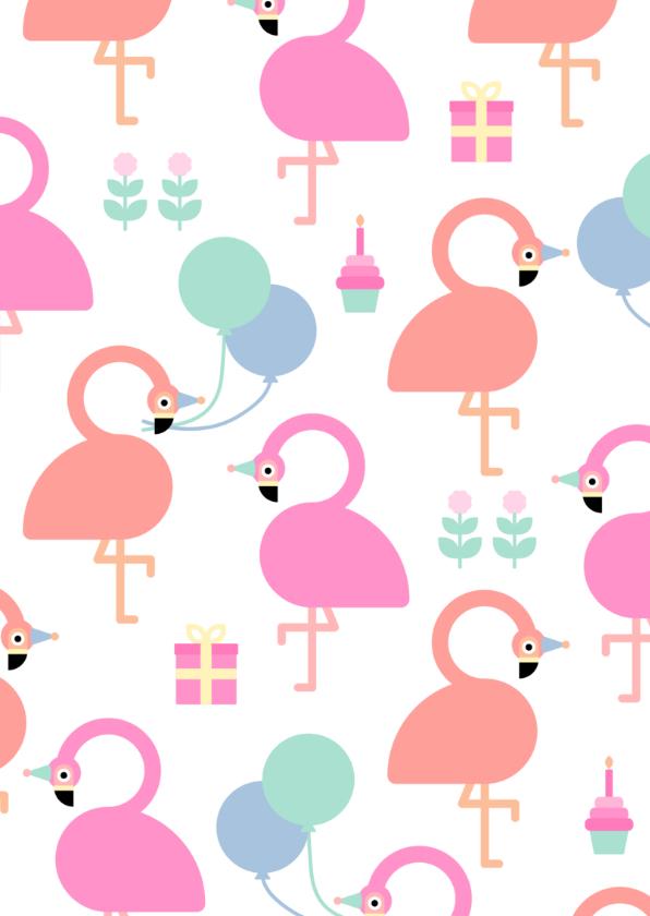Kinderfeestje kaart met feestende flamingo's 2