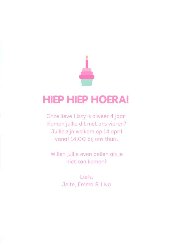 Kinderfeestje kaart met feestende flamingo's 3
