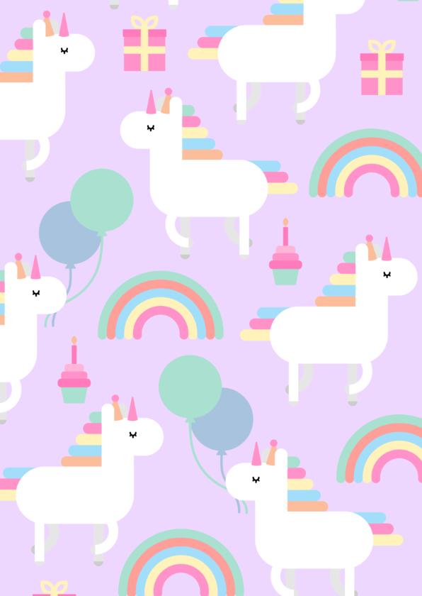 Kinderfeestje kaart met feestende unicorns 2