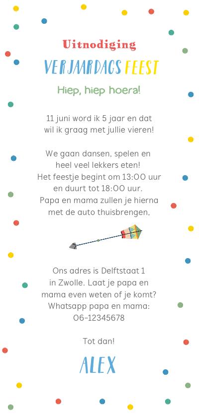 Kinderfeestje kleurrijk met confetti, pijltje en foto achterkant