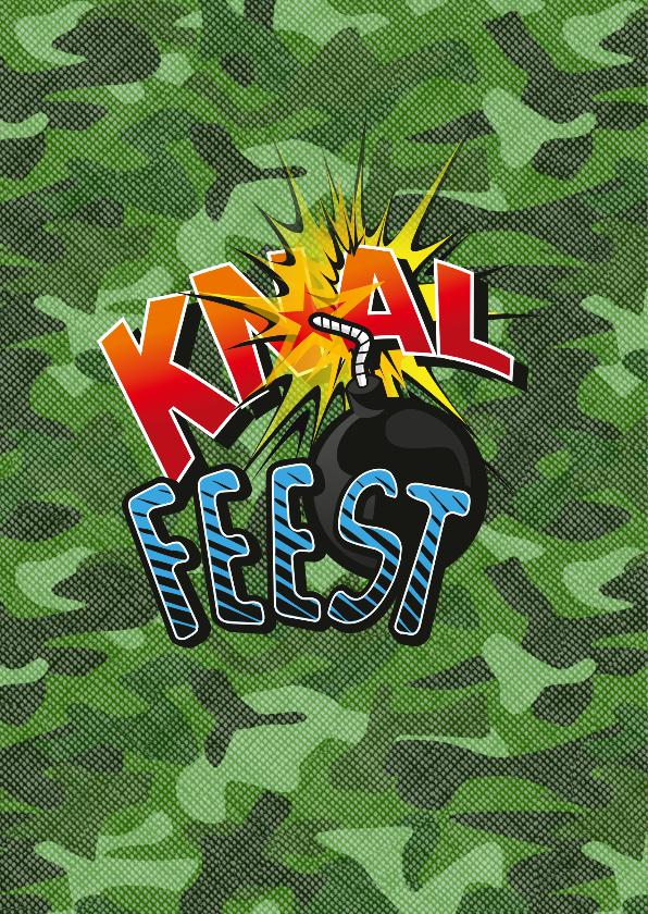 Kinderfeestje Knalfeest camouflage strip foto groen 2