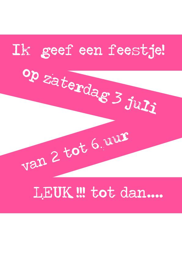 Kinderfeestje uitnodiging met roze stippen 3