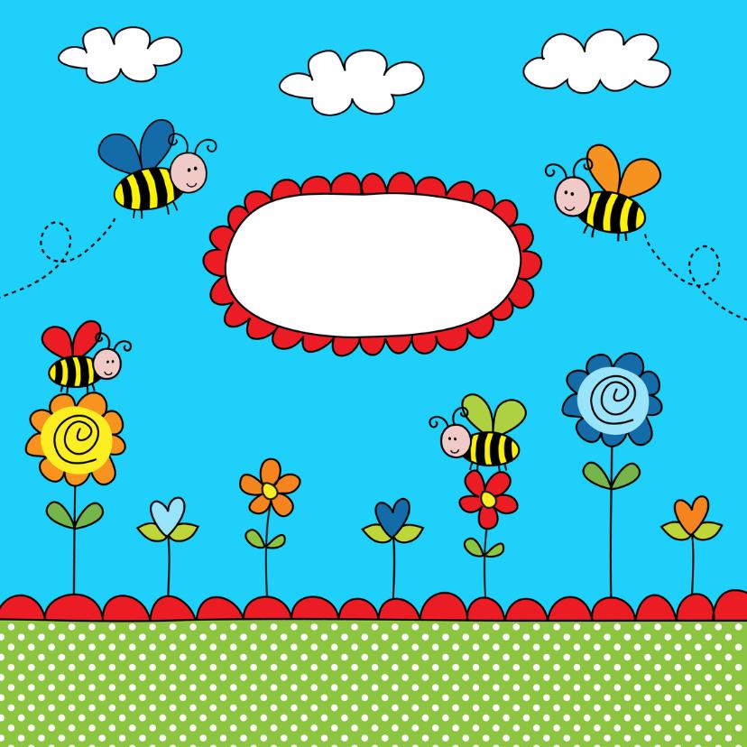 Kinderkaart bijtjes blauw 2