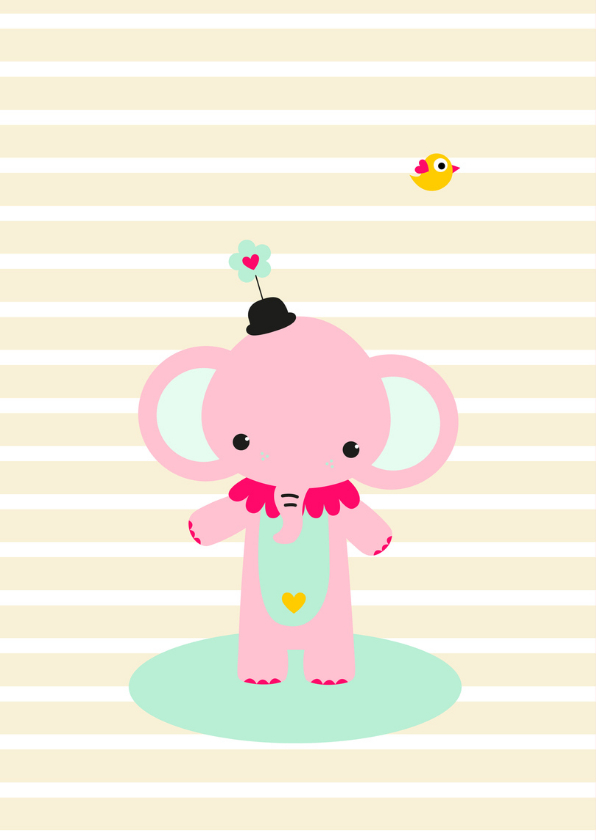 Kinderkaart - Olifantje circus 2