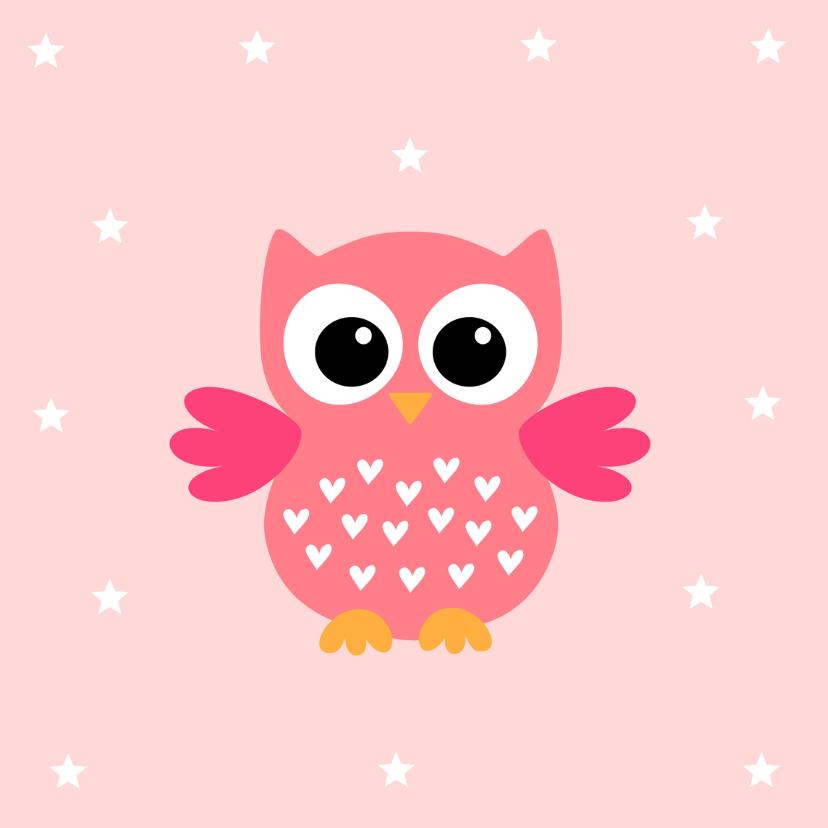 Kinderkaart uiltje sterren roze 2