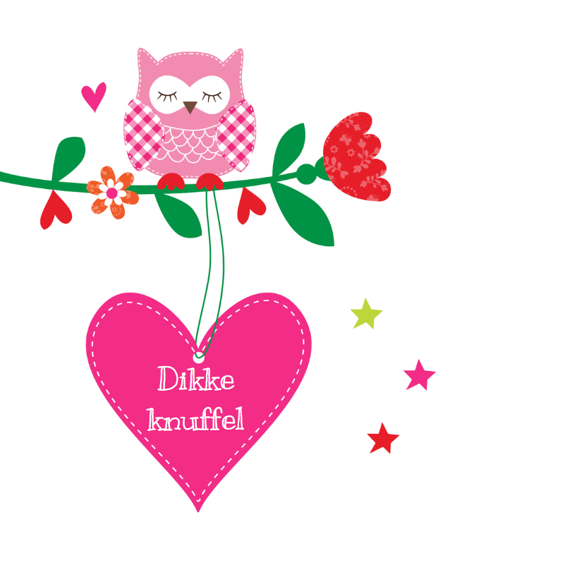 Kinderkaart uiltjes roze  2