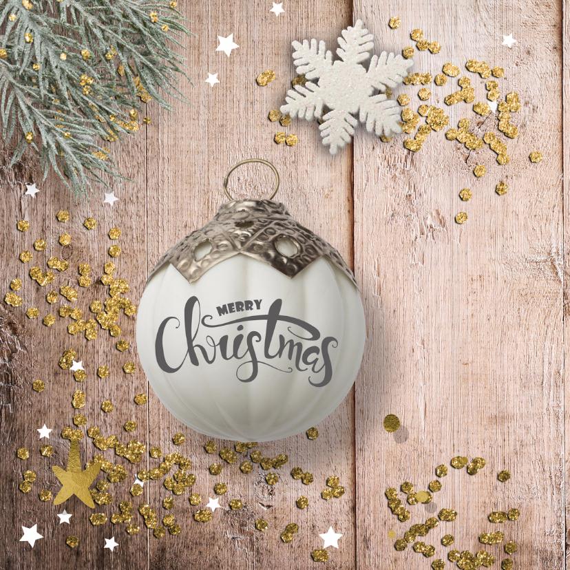 klassieke foto kerstkaart - hout en glitter 2