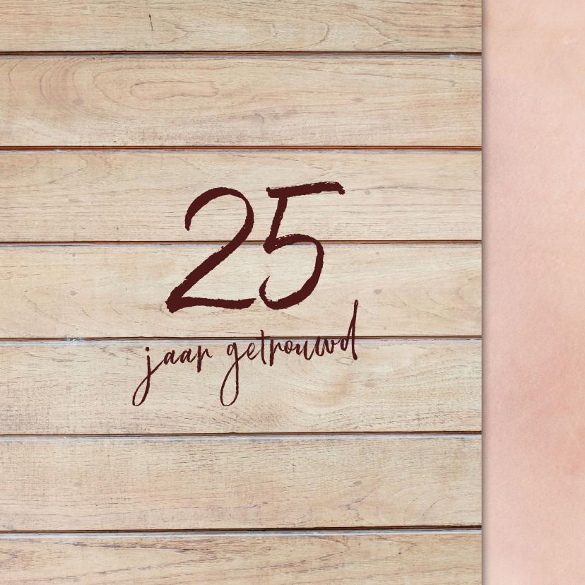 Klassieke houten 25 jarige jubileumkaart 2